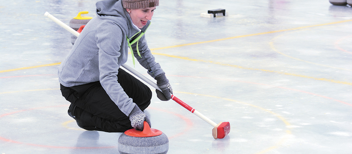 Curling on Lake Bemidji during Winterfest